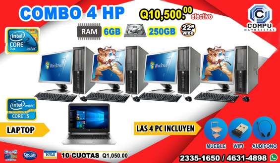 Combo 4+1 computadoras hp+ 01 laptop corei5