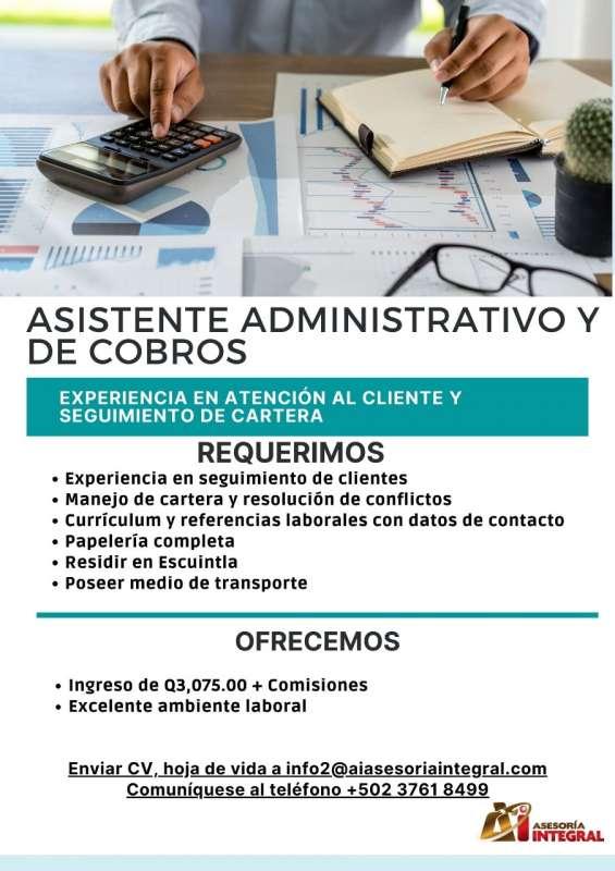 Asistente administrativa y cobros para escuintla